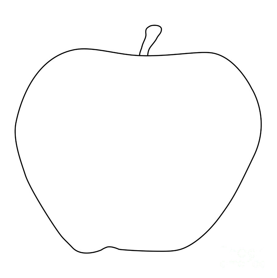 Apple digital art apple outline drawing by bigalbaloo stock