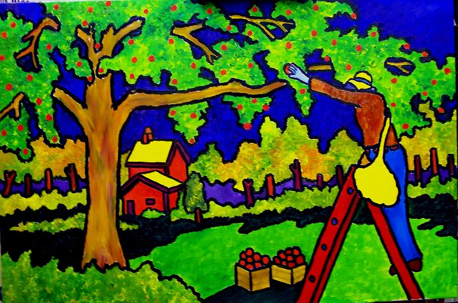 Apple Painting - Apple Picking by Nick Piliero