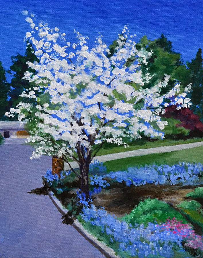 Apple Tree Painting - Apple Tree in Spring by Mary Chant
