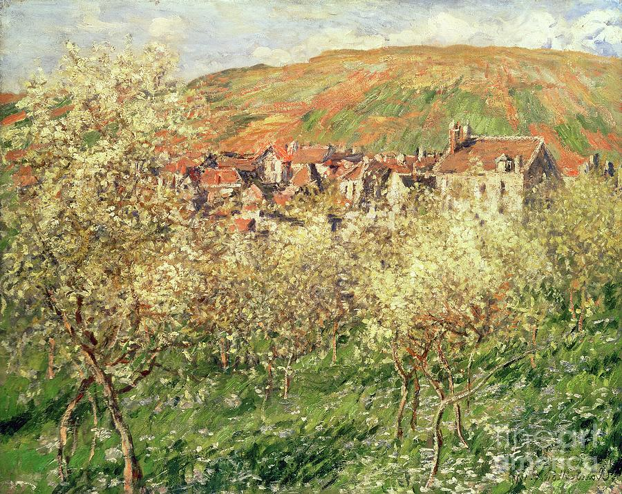 Monet Painting - Apple Trees In Blossom by Claude Monet