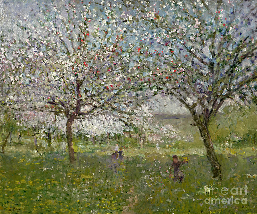 Apple Painting - Apple Trees In Flower by Ernest Quost