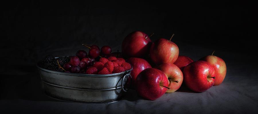 Abundance Photograph - Apples And Berries Panoramic by Tom Mc Nemar