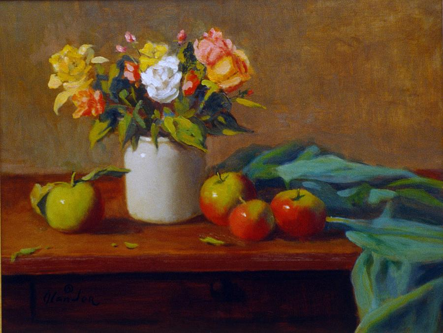 Apples And Flowers Painting by David Olander