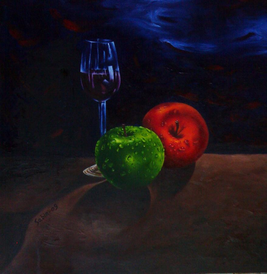 Apples And Glass Painting by Sabir Newar