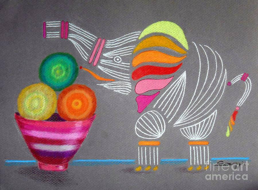 Apples and Oranges and Elephants, Oh My -- Whimsical Still Life w/ Elephant by Jayne Somogy