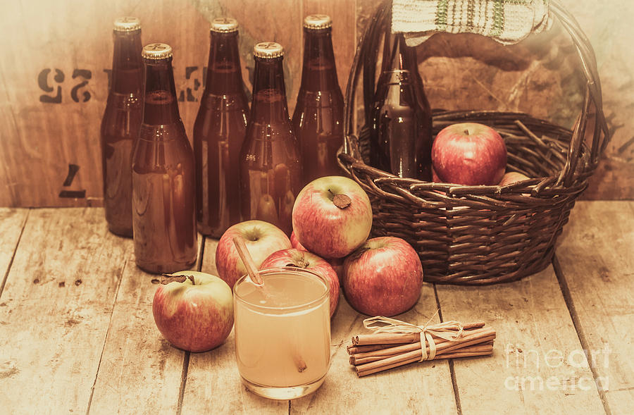 Cider Photograph - Apples Cider By Wicker Basket On Wooden Table by Jorgo Photography - Wall Art Gallery