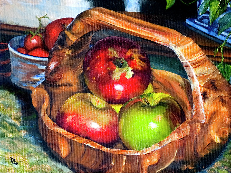 Still Life Painting - Apples In A Burled Bowl by Terry R MacDonald