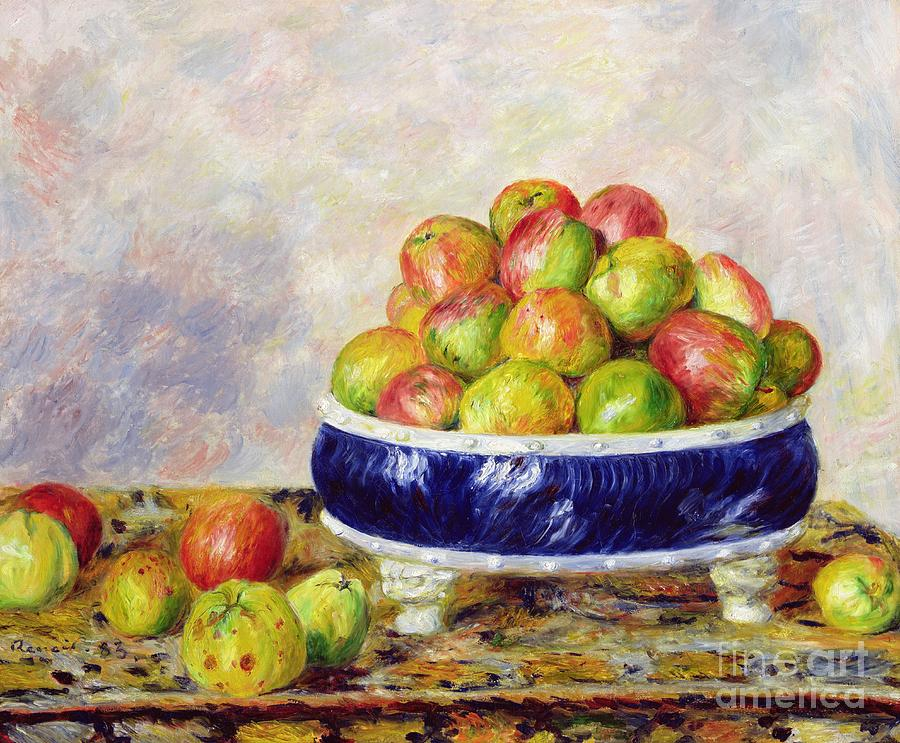 Pierre Auguste Renoir Painting - Apples In A Dish by  Pierre Auguste Renoir