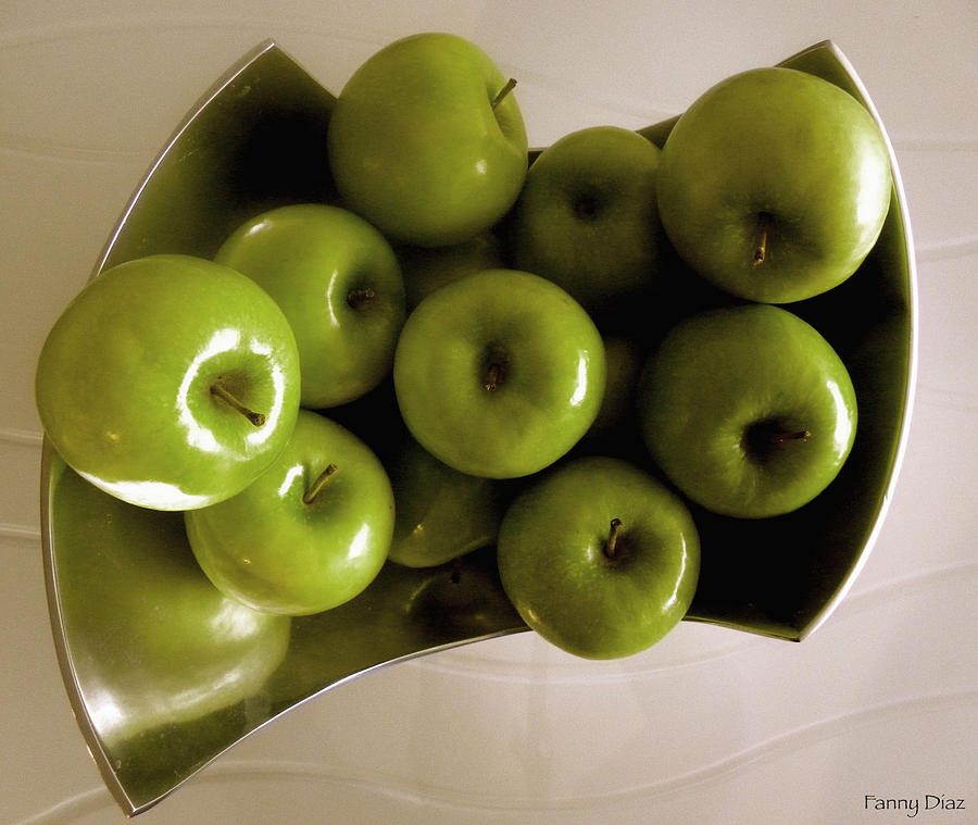 Green Photograph - Apples In A Silver Vase 2 by Fanny Diaz