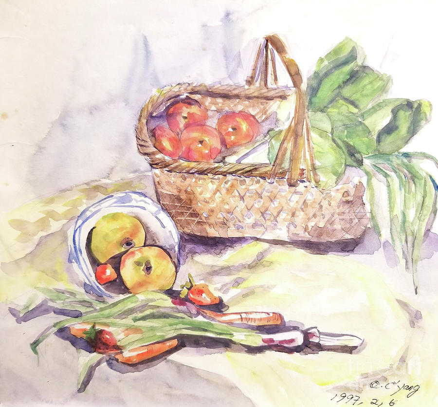 Watercolor Painting - Apples in Basket by AQQ Studio