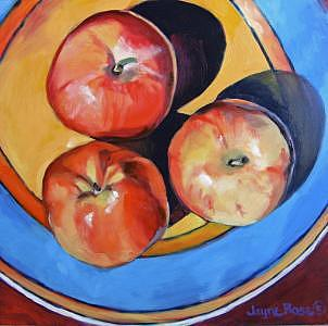 Oils Painting - Apples On Blue Plate -- Sold by Jayne Rose