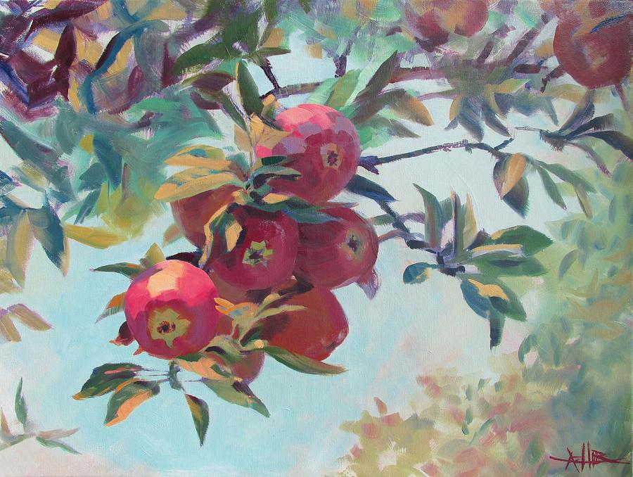 Apple Painting - Apples On The Tree by Azhir Fine Art