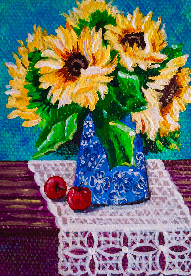 Apples Painting - Apples  Sunflowers by Jennifer Lake