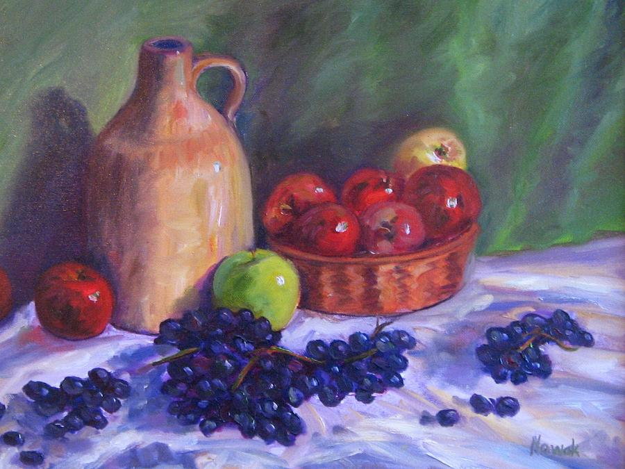 Apples Painting - Apples With Grapes by Richard Nowak