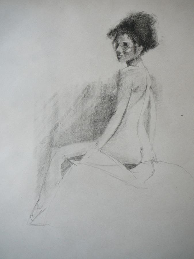 Big Hair Drawing - Apprehensive Woman by Irena  Jablonski
