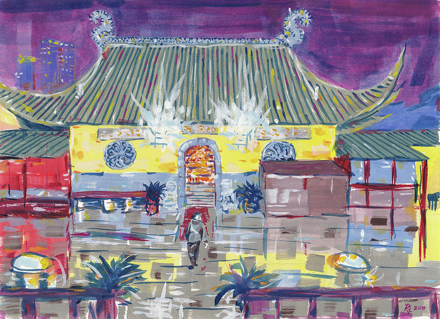 Chinese Temple Painting - Approaching Dongwu Temple On Chinese New Years Eve by Dave Alber