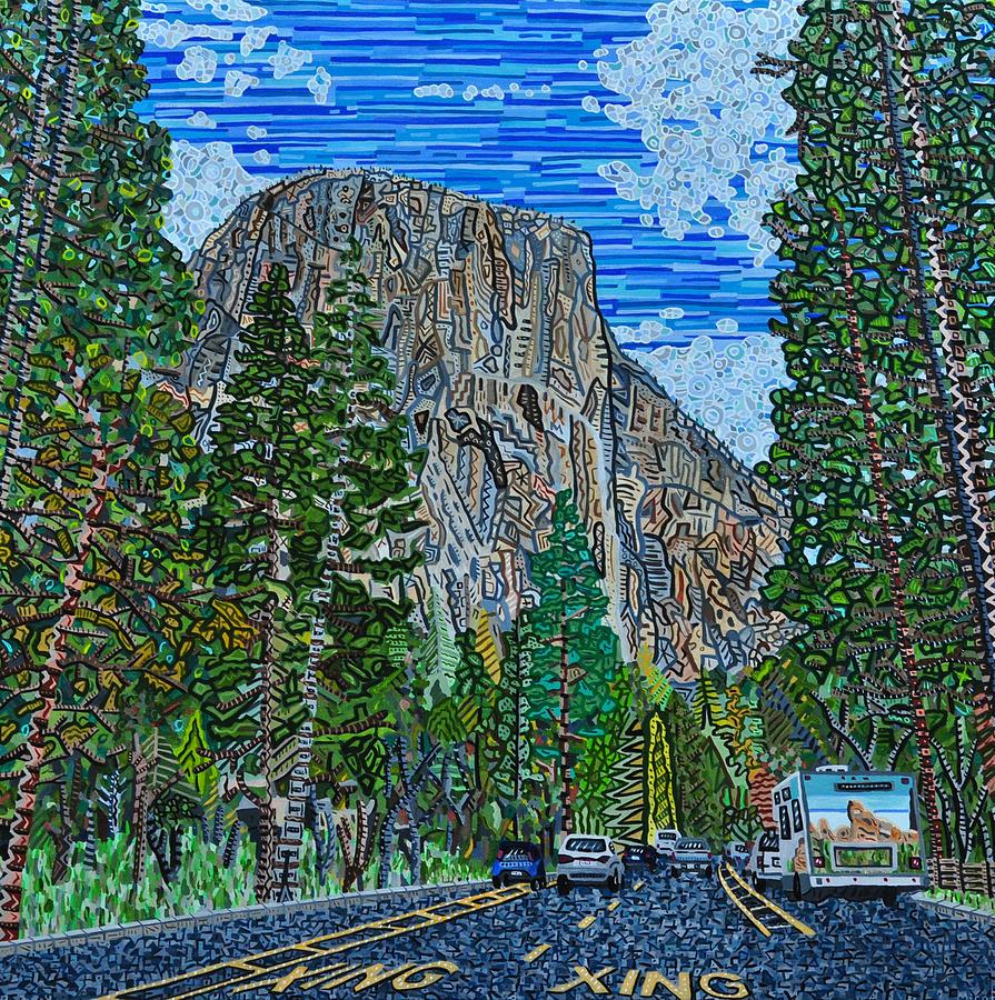 El Capitan Painting - Approaching El Capitan Yosemite National Park by Micah Mullen