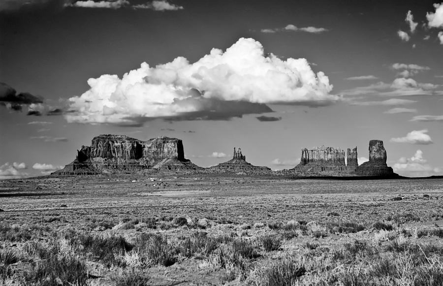 Monument Valley Photograph - Approaching Monument Valley Black And White by Paul Basile
