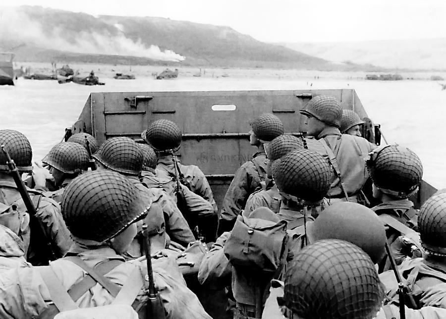 Invasion Of Normandy Photograph - Approaching Omaha Beach - Invasion of Normandy - June 6, 1944 by War Is Hell Store