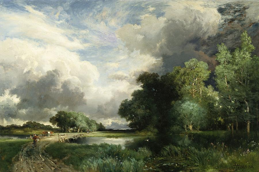 Approaching Storm Clouds (oil On Canvas) Landscape; River; Field; Tree; Weather; Thomas Moran Painting - Approaching Storm Clouds by Thomas Moran