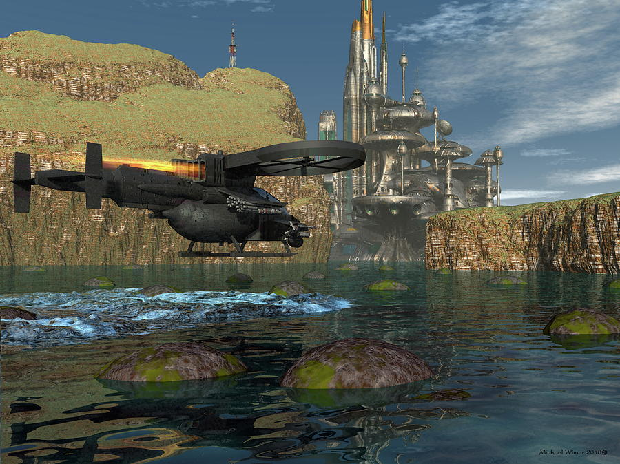Michael Wimer Digital Art - Approaching The Landing Pad by Michael Wimer