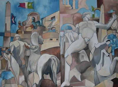 Appuntamento Piazza Del Quirinale A Mezzogiorno In Punto Ad Ascoltar La Banda Painting by Alexander Luigi Di Meglio