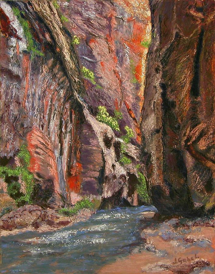 Landscape Pastel - Apricot Canyon 2 by Laura Gabel