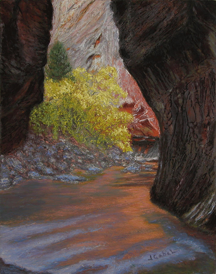 Landscape Pastel - Apricot Canyon by Laura Gabel