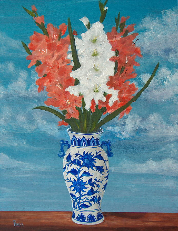 Gladiolas Painting - Apricot Glads by Pete Maier
