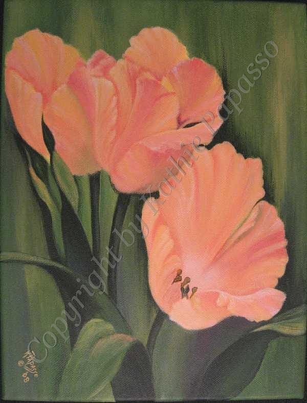 Flowers Painting - Apricot Tulips by Kathie Papasso