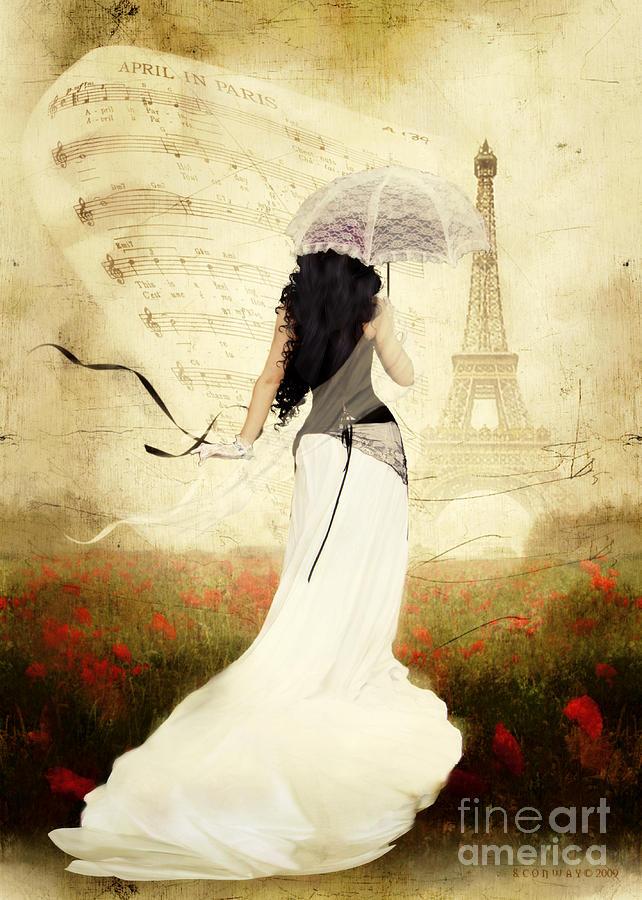 April Digital Art - April In Paris by Shanina Conway