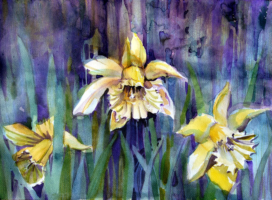 Daffodil Painting - April Showers by Mindy Newman