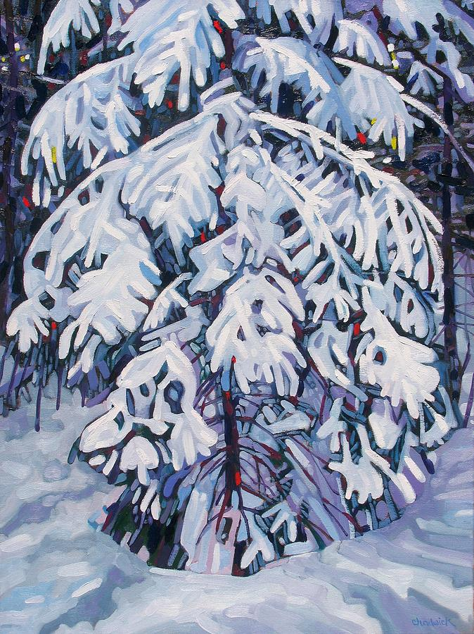 Spruce Painting - April Snow by Phil Chadwick