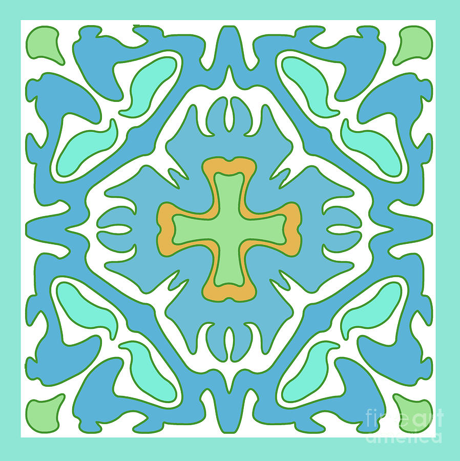 Aqua and Green Abstract with Orange Accent by Melissa A Benson