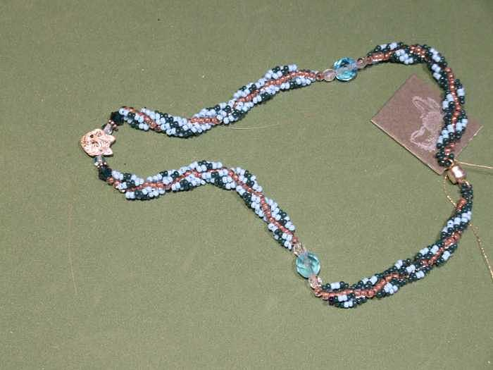 Aqua And Green Rope Weave With Fox Pendant Jewelry by Susan Anderson