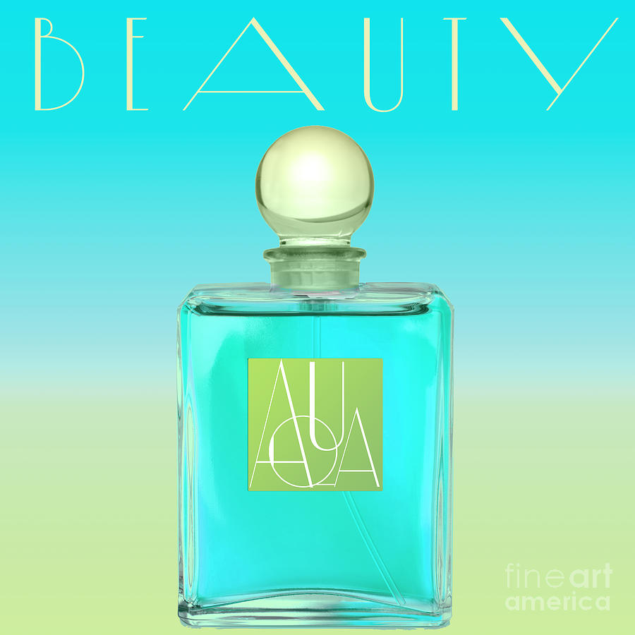 Aqua Art Deco Perfume Bottle Painting