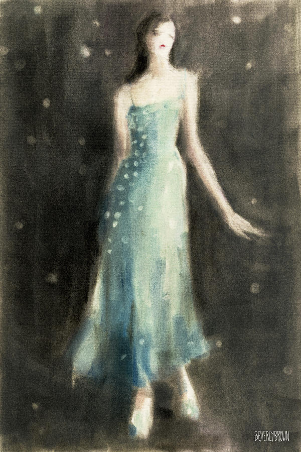 Fashion Painting - Aqua Blue Evening Dress by Beverly Brown
