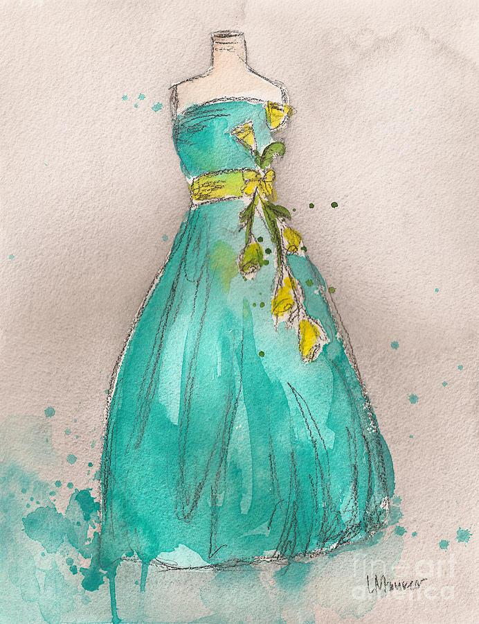 Aqua Painting - Aqua Dress by Lauren Maurer