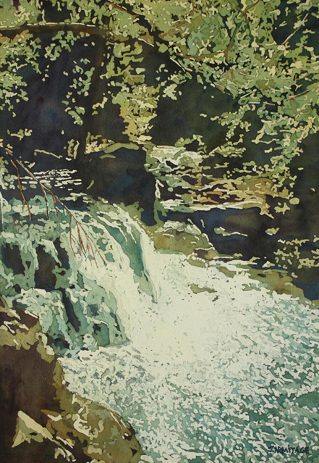 Waterfall Painting - Aqua Falls by Jenny Armitage