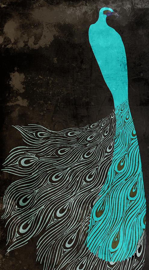 Aqua Peacock Art Nouveau Painting