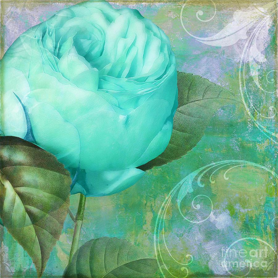 Aqua Rose Painting