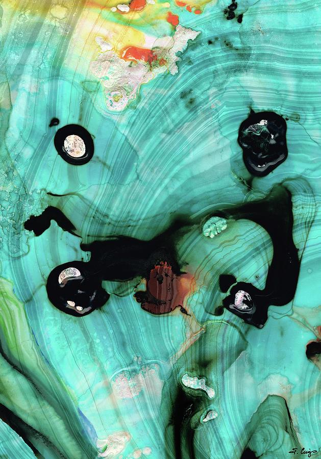 Teal Painting - Aqua Teal Art - Volley - Sharon Cummings by Sharon Cummings