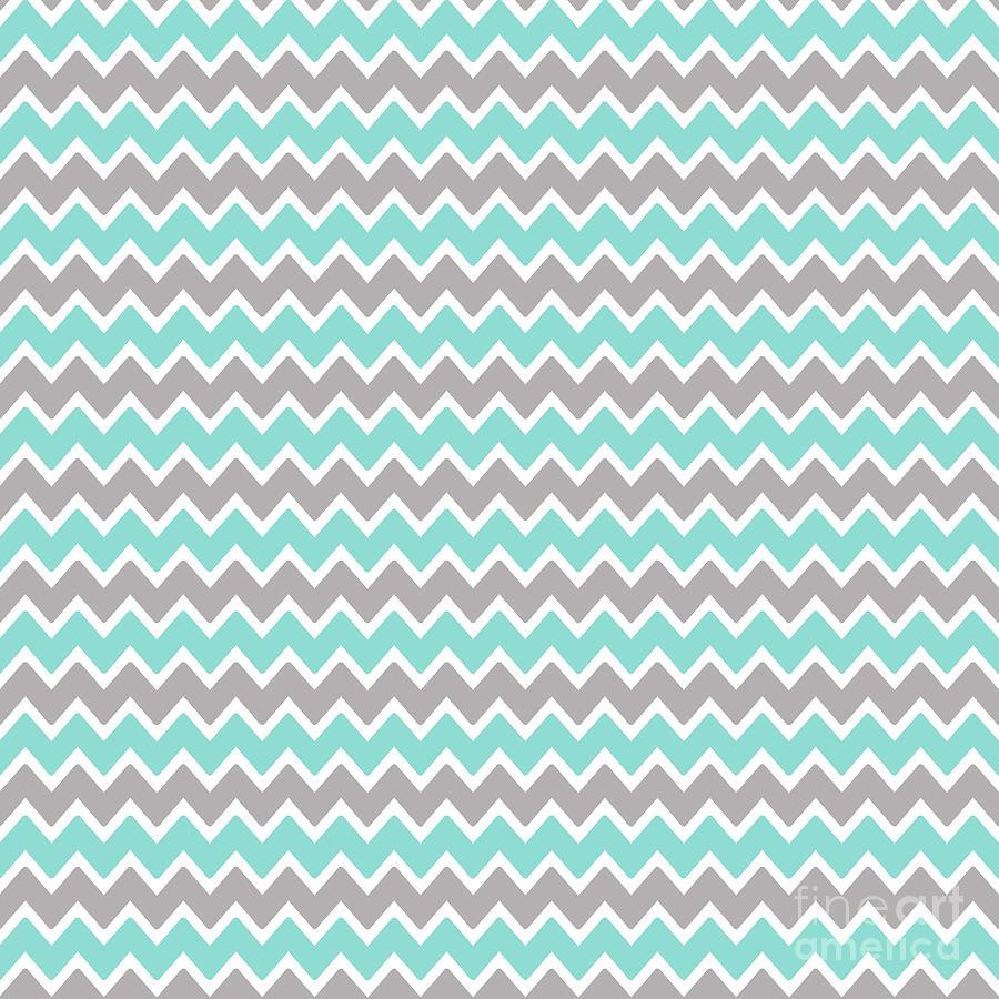 Aqua Turquoise Blue And Grey Gray Chevron Digital Art By