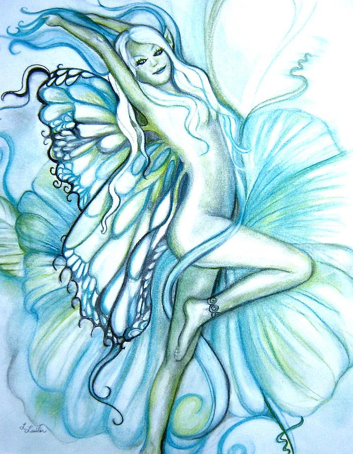 Pastel Drawing - Aquafairie by L Lauter