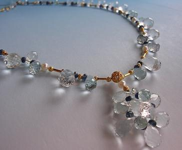 Ornate Designer Necklace Jewelry - Aquamarine And Blue Sapphire Briolette Necklace by Mia Katrin
