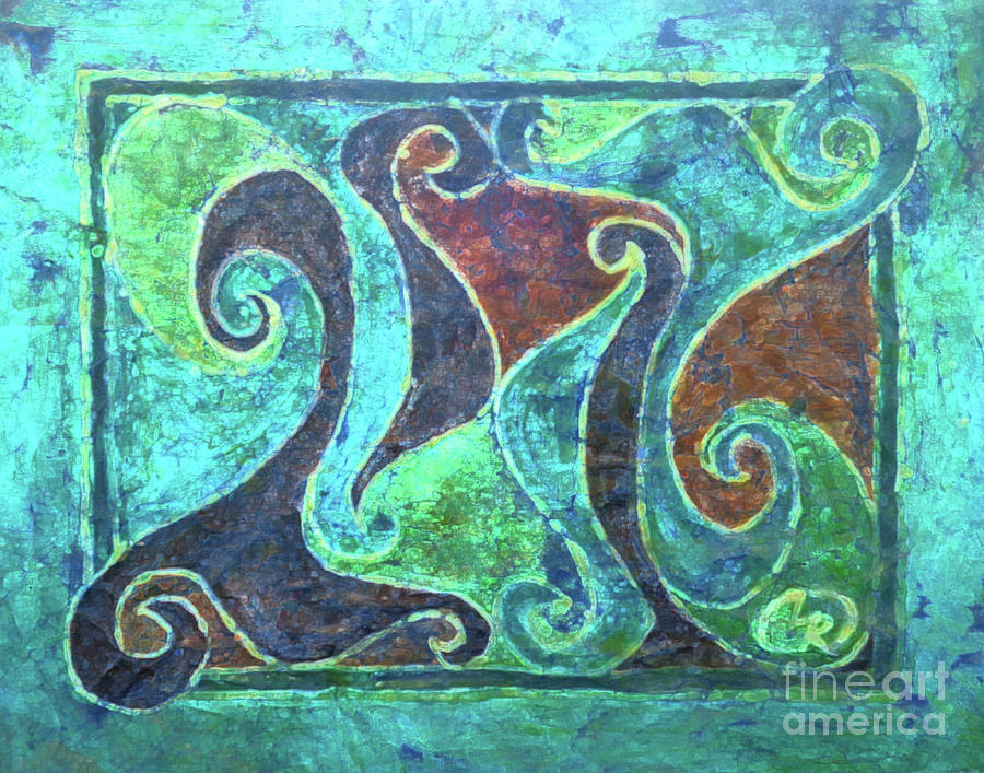 Batik Tapestry - Textile - Aquamarine Island Curves by Lori Russell