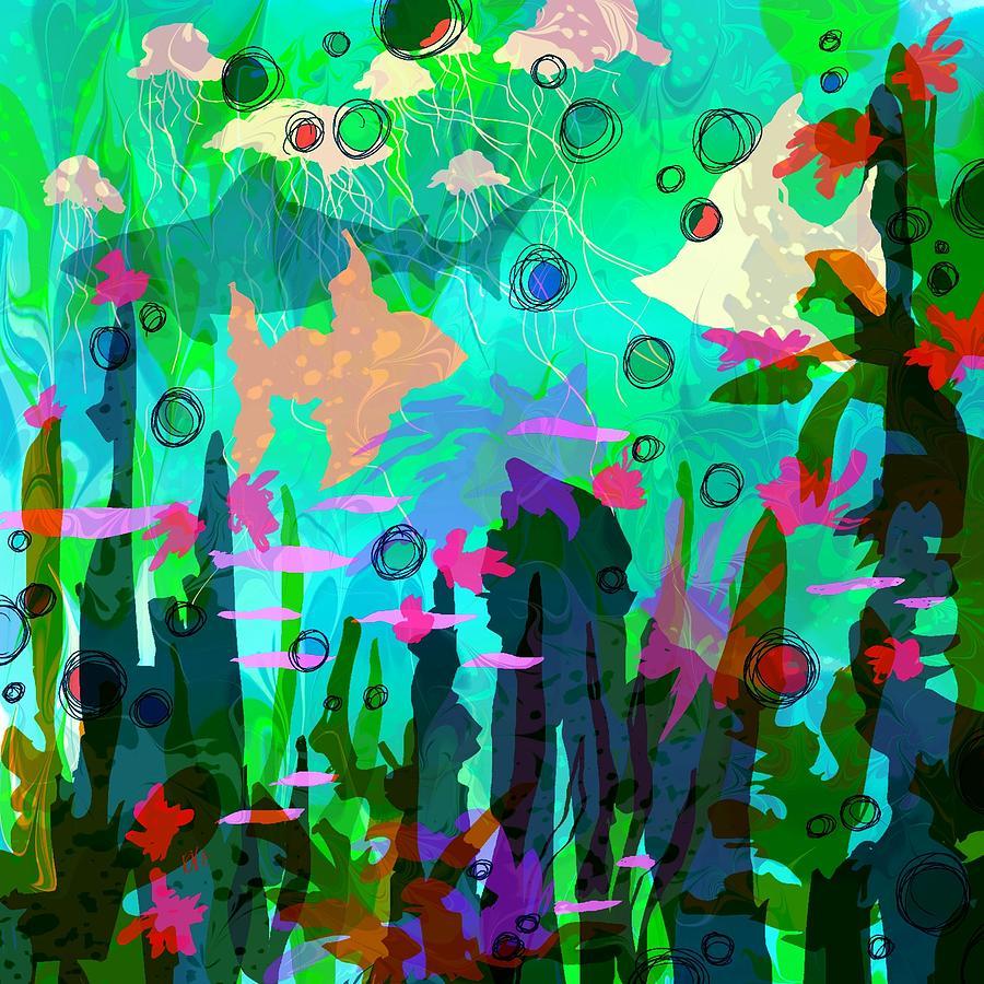 Abstract Digital Art - Aquaphoria by Rachel Christine Nowicki