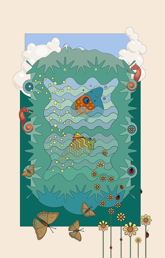 Water Digital Art - Aquarium by Edward Kinney