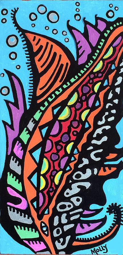 Tropical Fish Drawing - Aquarium by Molly Williams