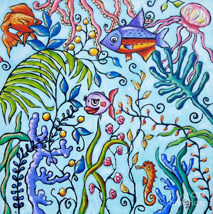 Aquarium Painting - Aquarium by Sandra Lett